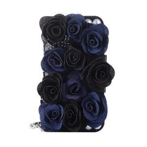 Image 3 - ורוד תיק טלפון עבור iPhone X יפה פרל רוז פרח Flip תיק עור ארנק מלא Case כיסוי עבור iPhone 7 8 6 6 S בתוספת 5S SE