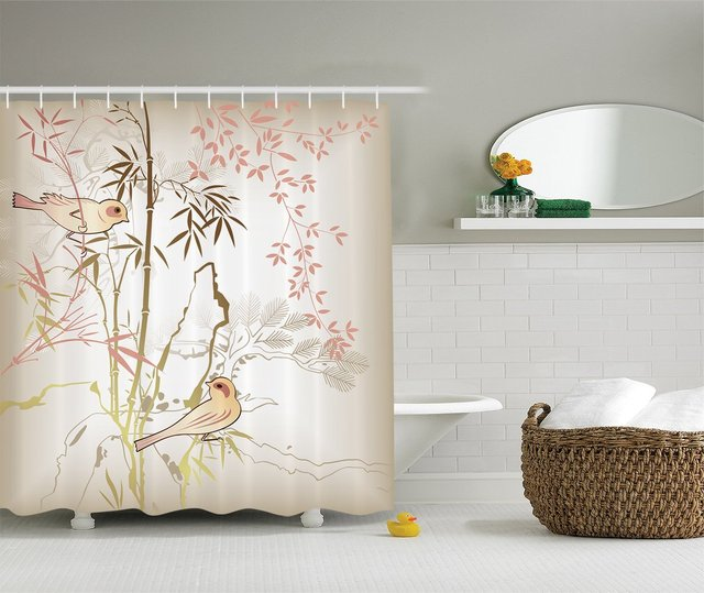 Etonnant CHARMHOME Ambesonne Vintage Bamboo Polyester Shower Curtain With Hooks,  Pink / Ecru / Khaki