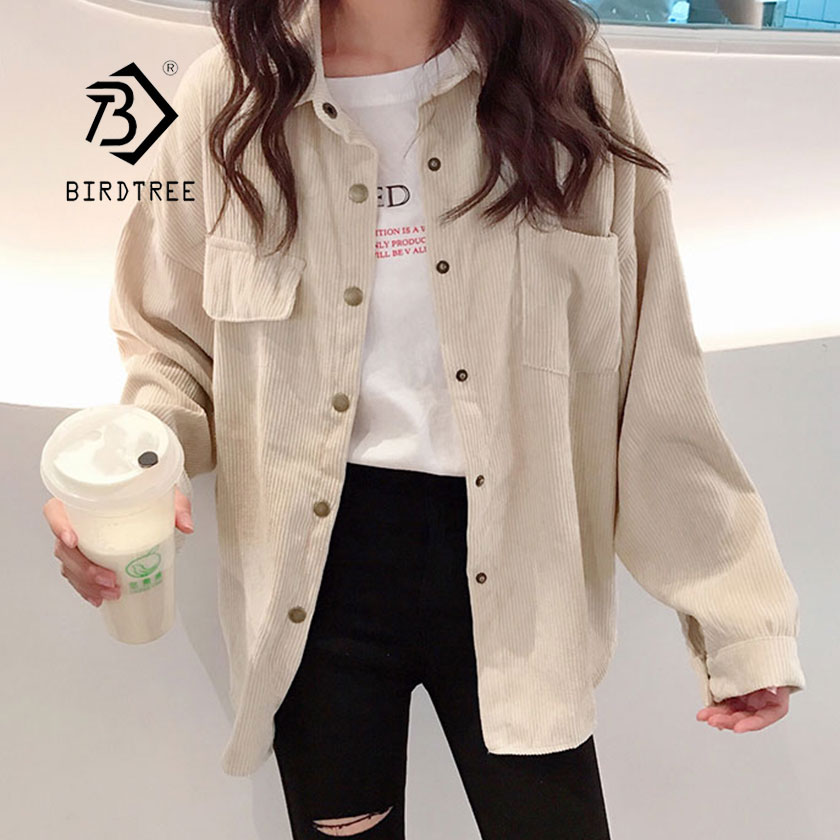 2019 New Fashion Woman Corduroy Jacket Solid Shirt Single Breasted Turn Down Collar Long Sleeve Pocket Button Feminina T8D501Z