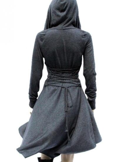 2018 Women Medieval Hedge Dress Gothic Hooded Lace Up Renaissance Dress Long Sleeve Cosplay Dresses Short Medieval Dress