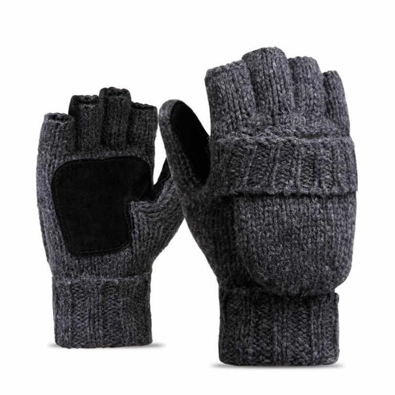 f9155a727e057 ... NDUCJSI Winter Warm Exposed Finger Mittens Knitted Warm Flip Half Finger  Gloves Men Women Wool Work ...