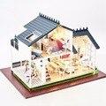 Cutroom 1:24 DIY Деревянный Ручной Миниатюрный Прованс Кукольный голосовое управление Свет Музыки с Крышкой 3D Кукольный Дом Подарок