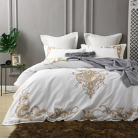 Golden embroidery egyptian cotton white luxury Bedding Set king queen bed cover set Bedsheets Duvet quilt Cover set pillowcase