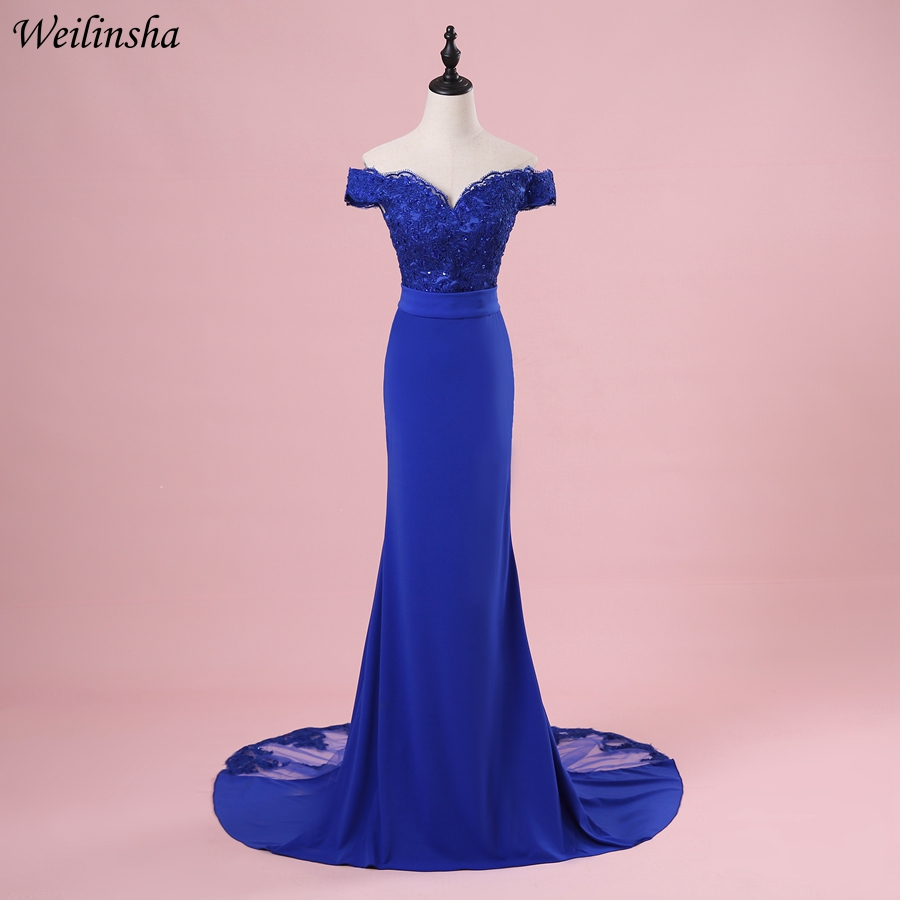 Weilinsha Royal Blue Mermaid Evening Dresses 2019 Longo Off the Shoulder Formal Evening Dress Party Prom