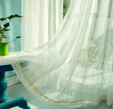 Custom Made Cortinas Sheer Tulle Hot sale wave line linen guaze sheer of window curtain voile for living room bedroom