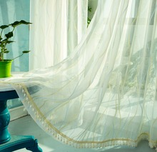 Custom Made Cortinas Sheer Tulle Hot sale wave line linen guaze sheer of window curtain voile