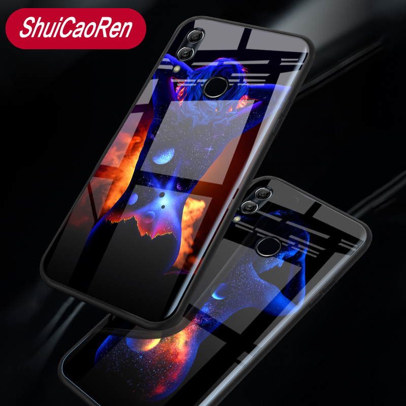 Luminous Glass <font><b>Case</b></font> For Huawei <font><b>Honor</b></font> 8 <font><b>9</b></font> 10 <font><b>Lite</b></font> <font><b>Sexy</b></font> Girl Glowing Back Cover <font><b>Case</b></font> For Huawei <font><b>Honor</b></font> 8 Pro V9 V8 V10 View 10 image