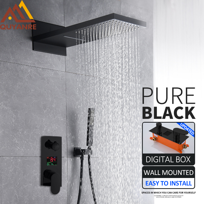 купить Quyanre Black Digital Shower Faucets Set Waterfall Rainfall Shower Head 3-way Digital Temp Display Mixer Tap Conceal Bath Shower по цене 12239.55 рублей