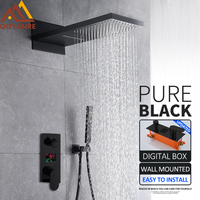 Quyanre Black Digital Shower Faucets Set Waterfall Rainfall Shower Head 3 way Digital Temp Display Mixer Tap Conceal Bath Shower
