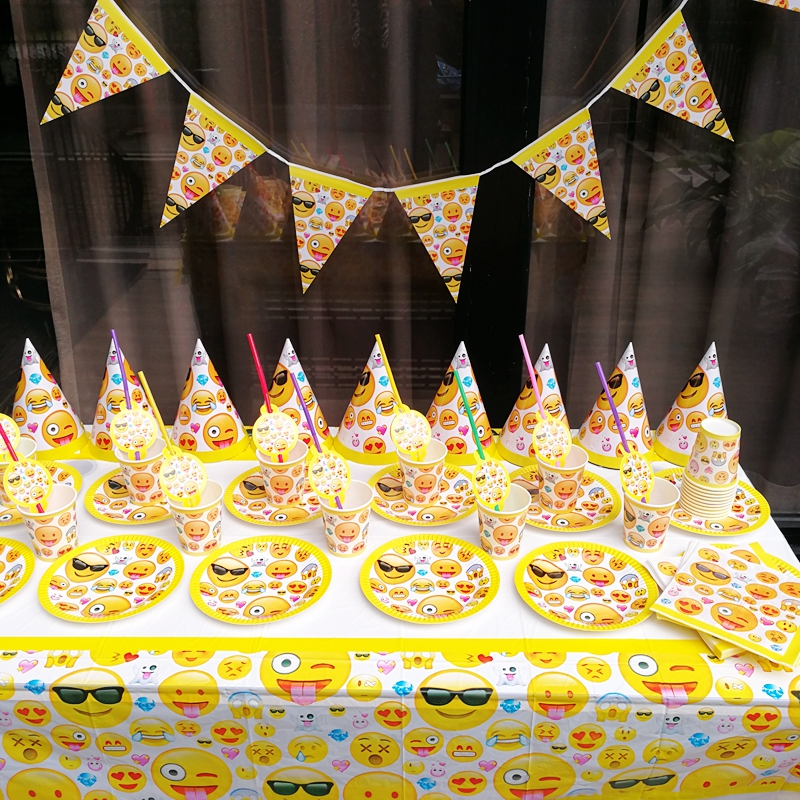 91pcs Emoji Tableware sets Kid Birthday Party Decoration Party Supplies TableCloth Cups Paper plates Napkin Flag Paper hat Straw