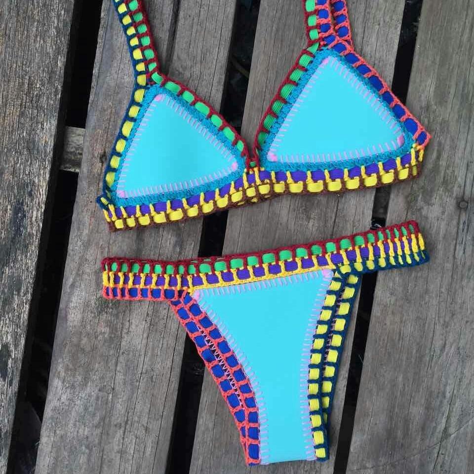 Prix pour Sexy crochet coloré élastique bikini NÉOPRÈNE-BIKINI-Maillot de Bain-Maillots De Bain beachwear