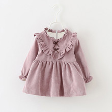 New Girls Dress Children Clothing Casual Clothes Fashion Solid Color Bow Long-sleeves Princess Cotton Dress Female Baby Clothes