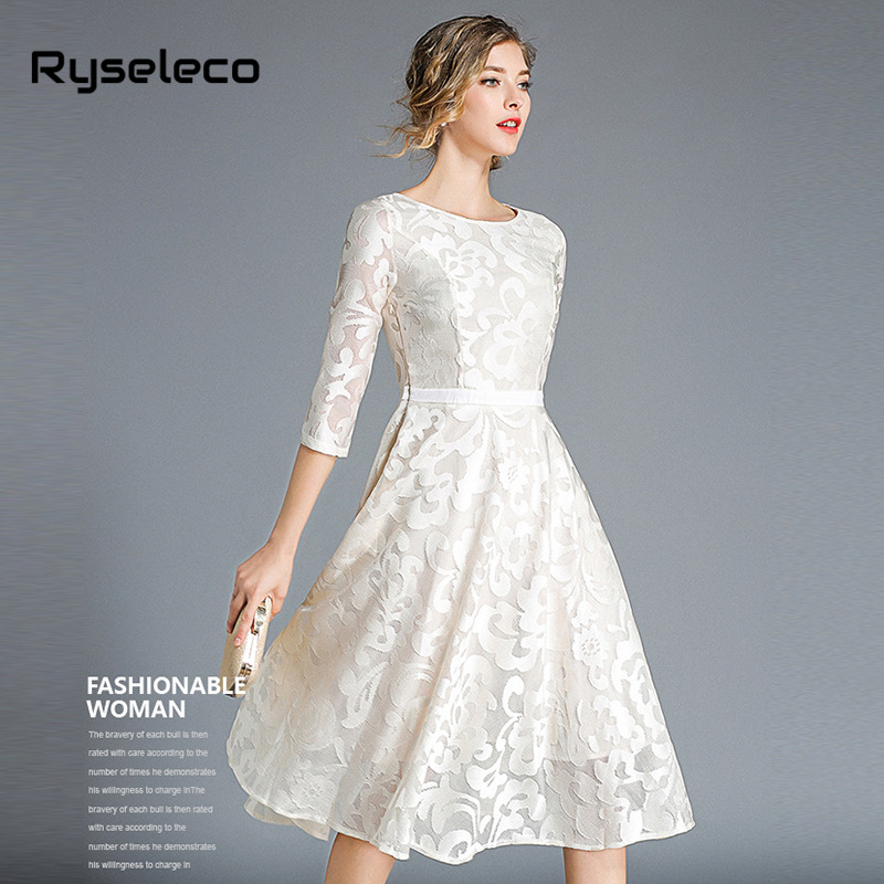 bd71ad6b739a Aliexpress.com : Buy 2018 Autumn Winter New Women Lace Dresses Floral  Crochet Hollow Out Vestido Patchwork Casual Slim Office Party Swing Midi  Dress from ...