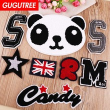 GUGUTREE towel embroidery big panda star patches flag letter M S R badges applique for clothing YX-291