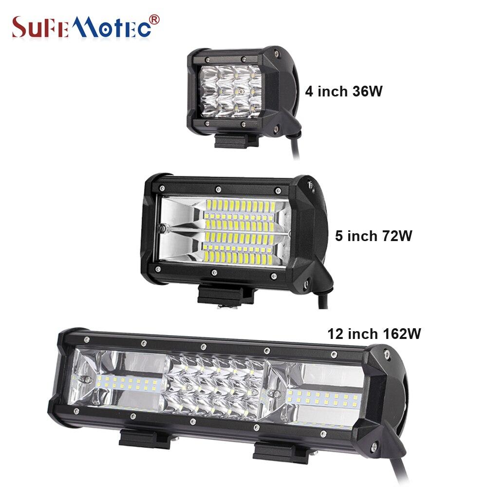 SufeMotec 7.5 ''12'' 36 W 72 W 144 W 162 W Tri Rangée LED Light Bar pour Offroad 4X4 Camions Conduite Travail Lumière Barra Spot Flood 12 V 24 V