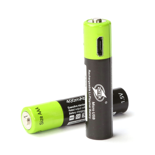 2PCS ZNTER AAA 400mAh Lithium Battery Micro USB Charging 1.5V 400MAH ZNT7-1 Rechargeable Lithium Battery For Remote Controller
