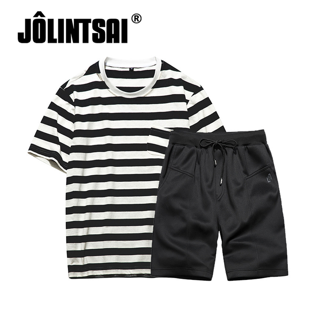 JOLINTSAI 2018 Summer New Fashion T-shirt+Shorts Two Piece Sets Quick Dry Tracksuit Men Casual Short Sleeve Striped T-shirt Sets