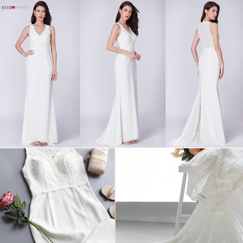 Robe De Mariee Ever Pretty New Arrival Elegant Simple A Line V Neck Small Train Sleeveless