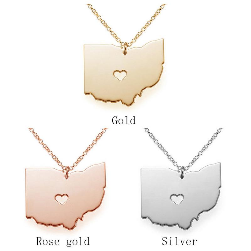 Mens Womens Collage Memories Classmate Souvenir Stainless Steel Ohio Map Shape With A Heart Personalized State Pendant Necklace