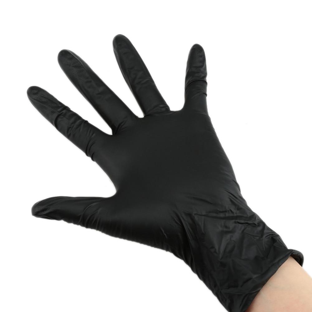 Black latex gloves xs - Three Sizes 100pcs Disposable Black Nitrile Gloves Powder Free Non Sterile Tattoo Latex Glove