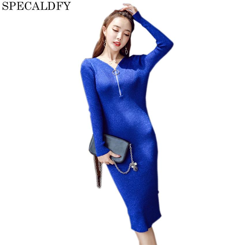 Sweater Dresses For Winter Long Sweater Dress Women Long Sleeve Zipper Slim Bodycon Pencil Knitted Dresses 2018 Spring Vestidos