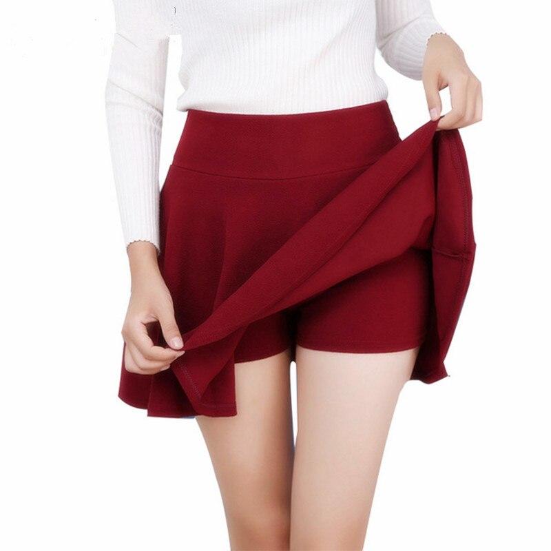 Danjeaner M-5XL 10 Cores das Mulheres Calças de Cintura Alta Saias Plissadas 2018 Verão Super Elástica Mini Saias Saias Faldas Mujer