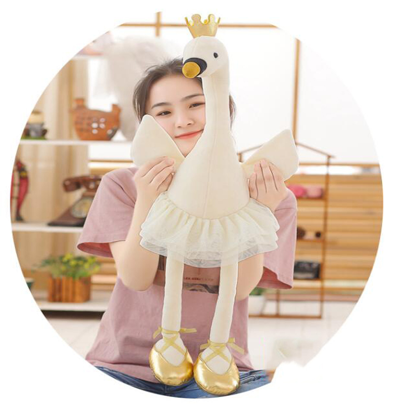 Swan Plush Toy Super Cute Cute Flamingo Doll Plush Toy Doll Plush Animal Ballet Swan With Crown Doll Pink Girl birthday gift in Stuffed Plush Animals from Toys Hobbies