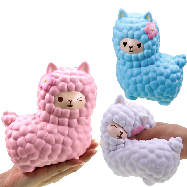 Confident 1pcs Kawaii Squishy Slow Rising Bling Rainbow Sheep Novelty & Gag Toys Alpaca Soft Cute Animal Squeeze Bread Cake Scented Toy