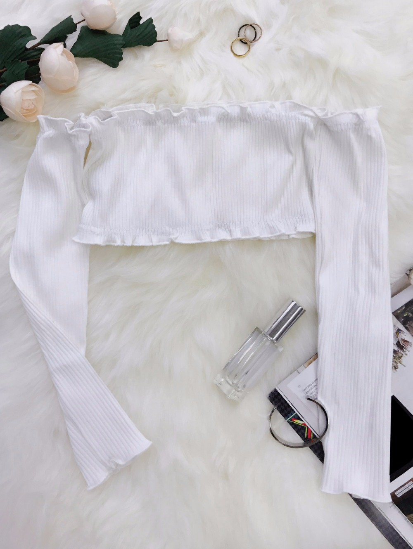 HTB1rG37RpXXXXc8XXXXq6xXFXXXl - Frilled Off The Shoulder Crop Top Summer Floral Knitted Female Tops JKP006