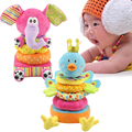 Peacock/Elephant Animal Tower Learning Education Plush Toys Cloth Educational Blocks kids Baby Toys BB and Ring Paper Rattles