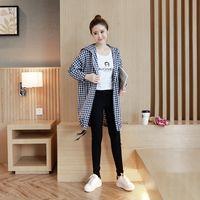 Plus Size 2017 New Autumn England Style Women Shirts Plaid Loose Cotton Windbreaker Long Blouse Shirt