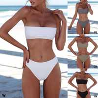 Conjunto de Bikini sexi para mujer, sin tirantes, sujetador push-up, bañador