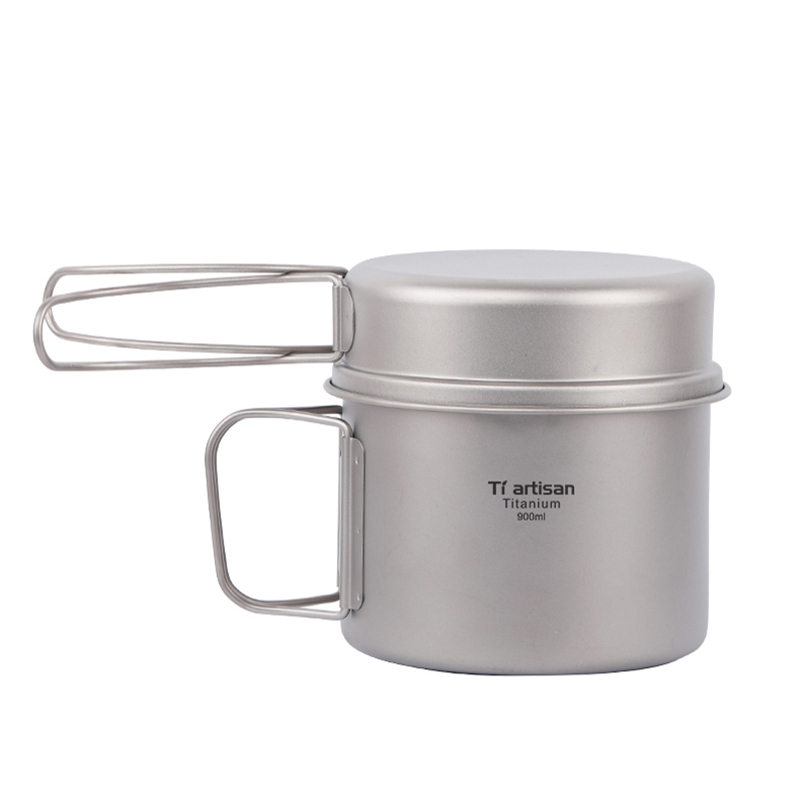 Tiartisan Titanium Camping Pot Pan Portable Outdoor Camping Cookware Set 900ml Pot and 350ml Fry Pan