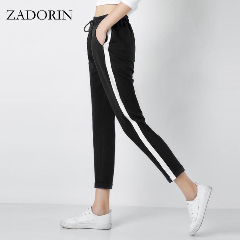 2018 Top mood naiste külg triibuline Harem püksid naiste must vabaaja kõrge talje püksid pingutuspael lahti püksid Pantalon Femme