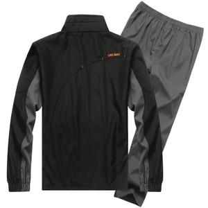 Image 3 - YIHUAHOO ماركة رياضية الرجال قطعتين مجموعة ملابس عادية سترة السراويل 2 قطعة بذلة رياضية رياضية sweatsuit رجل LB1601