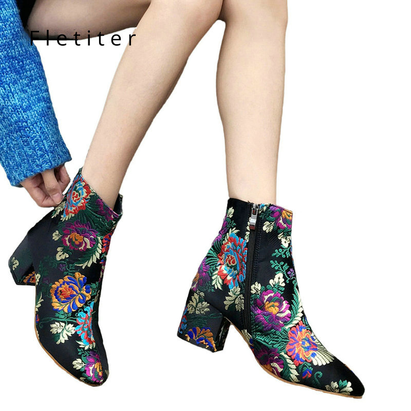 Winter Shoes Floral ankle boots for women Fashion Embroidery Designer 6cm Block Heel Shoes Round Toe Boots Brand 2018 Fletiter недорго, оригинальная цена
