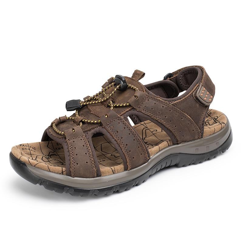 Kulit Asli Pria Sandal Musim Panas Pantai Sepatu Fashion Baru - Sepatu Pria - Foto 3