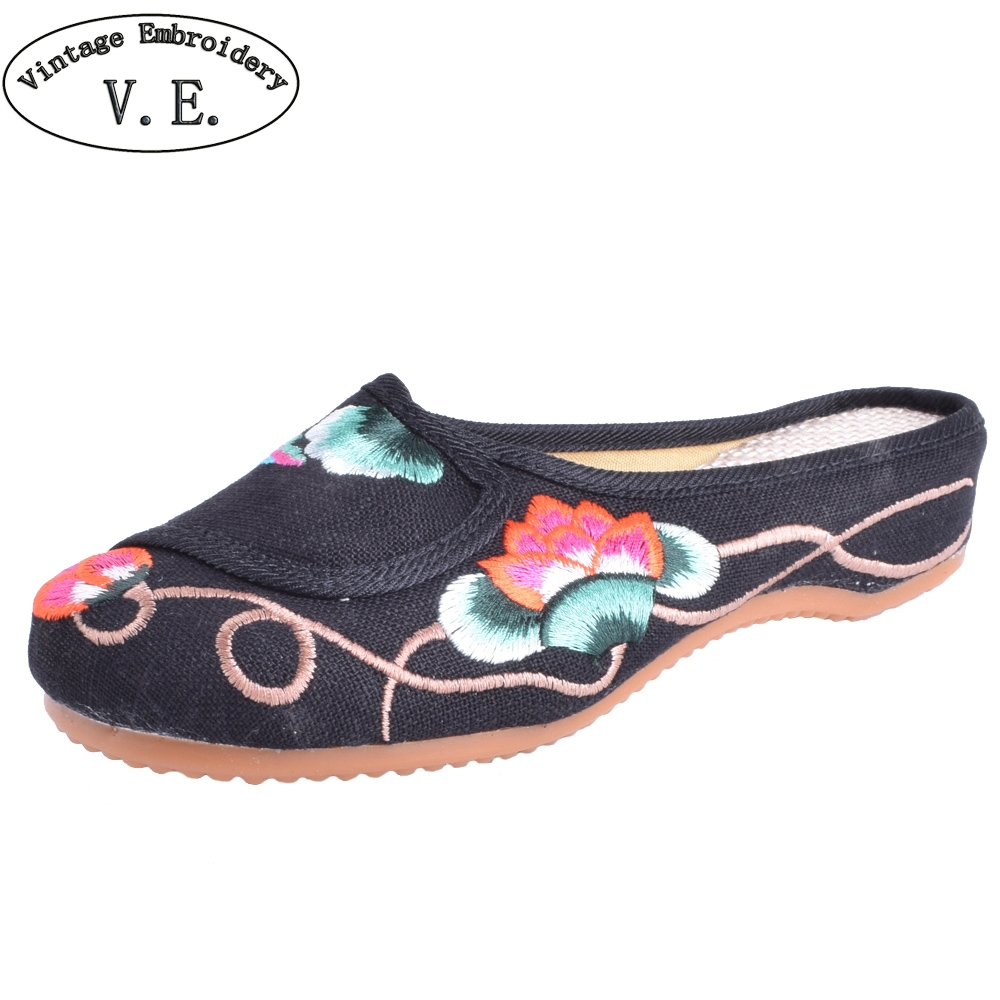 Women Slippers Chinese Women Lotus Dragonfly Canvas Soft Linen Embroidered Sandals Woman Slippers Plus Size 41 vintage embroidered women slippers summer new linen chinese canvas old beijing flowers sandals soft shoes size 35 41 page 3