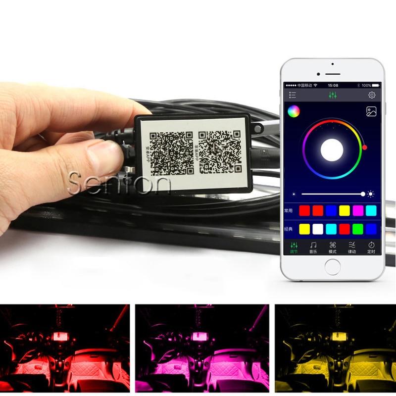 Car Interior Neon Lamp For Android iOS APP Control For Acura MDX RDX VW Touran Polo Passat B5 B6 B7 GOLF 7 6 5 Tiguan Jetta Bora for vw touran golf polo jetta passat b5 h7 led headlight bulbs cr xml 80w 8000lm 12 24v car headlights conversion kits