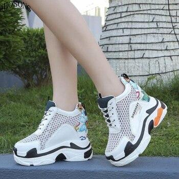 1e306a1f3 WHOSONG/2019 г.; новые дизайнерские белые туфли на танкетке; женские  Сникеры на платформе; tenis feminino; повседневная женская обувь; M176