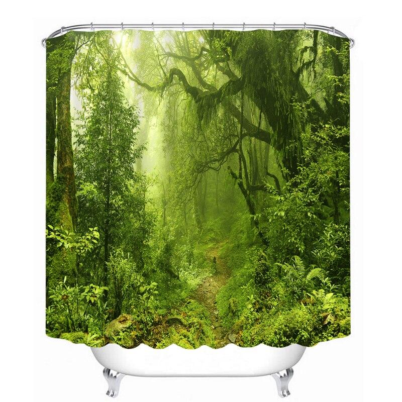 MYRU 3D Print Waterproof Forest Shower Curtains Bath