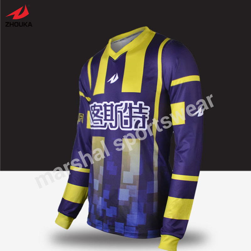 OEM any color goalkeeper jersey full sublimation prited in high quality free shipping lastest design polyester dry fit oem soccer jersey any color stripes design purple free shipping full sublimation print