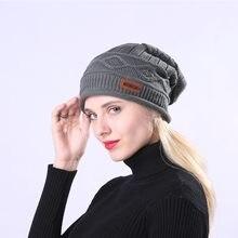 2018 Inverno Unissex Chapéus Caps Crochet Quente Além de Veludo Xadrez  Sólida Protetor Auricular Slouchy Hat para Mulheres Dos H.. 7804e790402