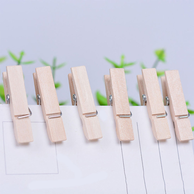 50pcs 2.5cm Mini Wedding Wood Clips Clothes Photo Paper Peg Pin Clothespin Craft Clips Party Decoration
