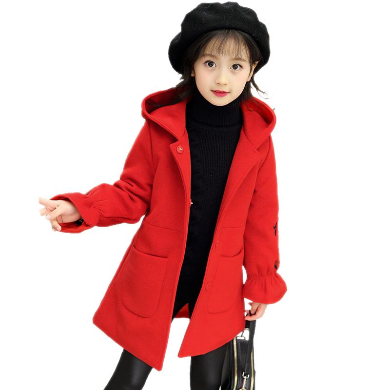 2018 Baby Girls Autumn Winter Embroidery Wool Coat Kid Princess Trench Coat Girl School Hooded Christmas Teenage Coat Hot