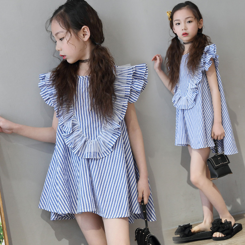 Kids Girls Dress Girls Striped Dress Baby Girls Summer Clothes Girls Dresses For Party And Wedding Kids Clothes 2018 New Arrival high grade 2017 summer new baby girls party dress wedding clothes long tail 1 6 yrs girls flower dresses kids clothes retail
