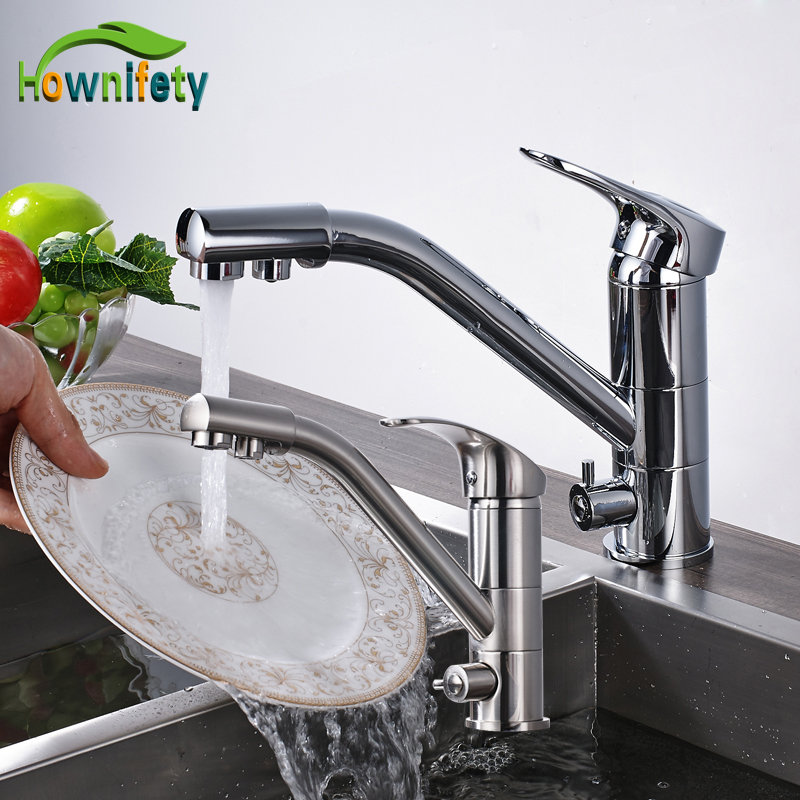 Chrome And Brushed Nickle Pure Water Faucet Two Water Spout Kitchen Sink Mixer Tap Purification Faucet new kitchen sink faucet tap pure water filter mixer dual handles with 6 inch hole cover plate brushed nickle