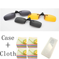 1PCS 3 Colors Lens Day Vision yellow Sunglasses Clip For Night Driving Eyeglass Myopia Glasses Clips On Oculos de sol with case