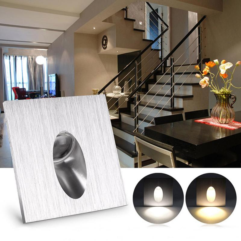 Recessed Led Wall Light Pathway Step Stair Intellective 1w Square/round Aluminum Led Corner Wall Light Impaction Night Lamp For Porch