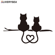 цена на SLIVERYSEA Car Styling Cartoon Funny Two Kittens LOVE Cat Reflective Stickers Motorcycle Stickers for Truck SUV Door Side Window